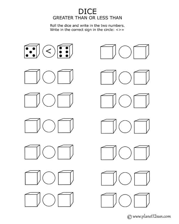 dice worksheet less than greater than
