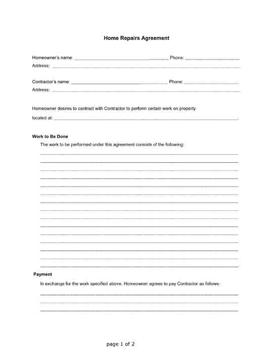 free printable home repairs agreement form